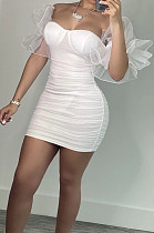White New Sexy Mesh Puff Sleeve Solid Color Slim Fitting Strapless Hip Dress SNM8234-1