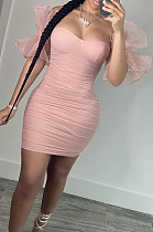 Pink New Sexy Mesh Puff Sleeve Solid Color Slim Fitting Strapless Hip Dress SNM8234-3