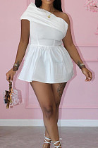 White Summer New Oblipue Shoulder Solid Collcet Waist Color Mini Dress HXY8061