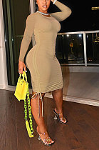 Khaki Women Round Neck Long Sleeve Solid Color Shirred Detail Bodycon Mini Dress ATE65008-1