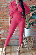 Red Women Ribber Sexy Drawsting Ruffle Pure Color Bodycon Jumpsuits ATE65007-2