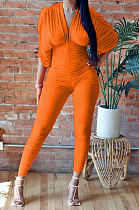 Orange Women Ribber Sexy Drawsting Ruffle Pure Color Bodycon Jumpsuits ATE65007-1