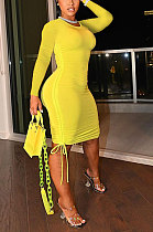 Lemon Yellow Women Round Neck Long Sleeve Solid Color Shirred Detail Bodycon Mini Dress ATE65008-3