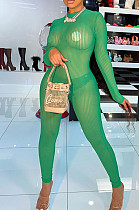 Green Night Club Mesh See-Through Long Sleeve Round Neck Zip Back Bodycon Jumpsuits CM2152-3