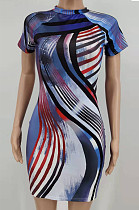 Blue Fashion Positioning Colorful Stripe Printing Short Sleeve Round Neck Tight Mini Dress HXY8063-2