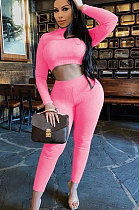 Pink Women Soft Ribber Sexy Pure Color Tight Dew Waist Pants Sets BLE2171-2