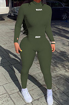 Army Green New Ribber Lettet Embroidered Long Sleeve O Neck Bodycon Pants Casual Two-Piece YYF8242-3