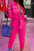 Rose Red Casual Pure Color  Long Sleeve Lapel Collar Zipper With Beltband Slim Fitting Overall Jumpsuit LML264-4