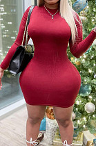 Red Fashion High Elastic Pure Color Long Sleeve Round Colllar Collcet Waist Hip Mini Dress HY5237-3