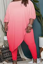 Pink Big Yards Gradient Oblique Shoulder Half Sleeve Irregularity Top Bodycon Pants Sets QSS51033-1