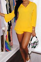 Yellow Autumn Women Nine Points Sleeve Tailored Collar Top High Waist Shorts Solid Sets QSS8025-2