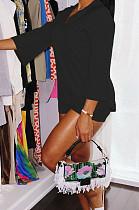 Black Autumn Women Nine Points Sleeve Tailored Collar Top High Waist Shorts Solid Sets QSS8025-3