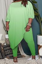 Neon Green Big Yards Gradient Oblique Shoulder Half Sleeve Irregularity Top Bodycon Pants Sets QSS51033-3