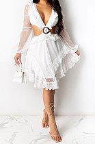 White Mesh Spaghetti Lace Sexy V Neck Dew Waits Back Bandage Long Sleeve Mini Dress YF9187-1