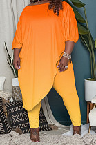 Orange Big Yards Gradient Oblique Shoulder Half Sleeve Irregularity Top Bodycon Pants Sets QSS51033-2