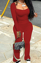 Red Autumn Wholesal Solid Color Long Sleeve Square Neck Flare Long Pants Bodycon Two-Piece YYF8241-3