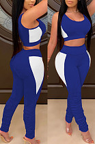 Blue Contrast Color Spliced Sleeveless Crop Tank Tight Pants Ruffle Sports Sets YG1121-3