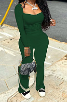 Blackish Green Autumn Wholesal Solid Color Long Sleeve Square Neck Flare Long Pants Bodycon Two-Piece YYF8241-1