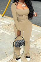 Khaki Autumn Wholesal Solid Color Long Sleeve Square Neck Flare Long Pants Bodycon Two-Piece YYF8241-5