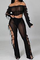 Black Euramerican Long Sleeve Off Shoulder Straplee Sexy Tight Pure Color Milk Silk Pants Sets YF9204-1