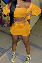 Orange Casual Wholesal Long Sleeve Zippet Hoodie Coat &Strapless Short Skirts Sport Three Piece TC091-2
