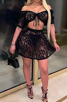 Black Women Sexy Lace Fashion Strapless Dew Waist Short Sleeve Skirts Sets YS501