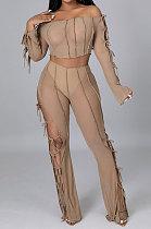 Khaki Euramerican Long Sleeve Off Shoulder Straplee Sexy Tight Pure Color Milk Silk Pants Sets YF9204-2