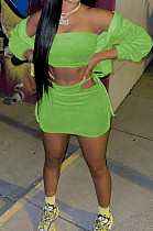 Green Casual Wholesal Long Sleeve Zippet Hoodie Coat &Strapless Short Skirts Sport Three Piece TC091-1