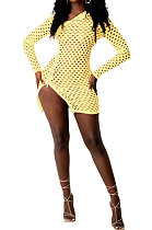 Yellow Sexy Long Sleeve Zipper Hollow Out Pure Color Club Mini Dress FMM2069-1