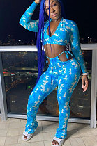 Blue Women Fashion Printing Dew Waist V Neck Bandage Sexy Pants Sets FFE174