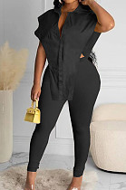Black New Fashion Pure Color Lapel Neck Single-Breasted From Shoulder Shirts Bodycon Pants Two-Piece LYY9314-2
