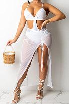 White Club Women Condole Belt Crop Solid Color Skirts Sets KA7192-1