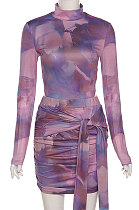 Purple Women Trendy Round Neck Long Sleeve Jumpsuits Hip Skirts Sets QNFS04515-2