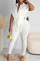 White New Fashion Pure Color Lapel Neck Single-Breasted From Shoulder Shirts Bodycon Pants Two-Piece LYY9314-1