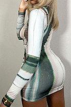 Green Fashion Round Neck Women Bodycon Long Sleeve HipRaising Ruffle Mini Dress QNFS04632-1