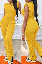 Yellow Casual Wholesal Sleeveless Round Neck Zip Back Drawsting Ruffle Pants Solid Color Two-Piece SZS8167-2