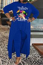 Blue Euramerican Women Round Neck Long Sleeve Plus Pants Sets AMN8026-3