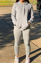 Gray Casual Cotton Blend Long Sleeve With Pocket Hoodie Pants Solid Color Sport Sets YM213-6