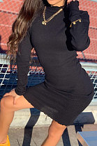 Black Women Pure Color Stand Collar Sexy Ribber Lace Long Sleeve Mini Dress AMW8332-1