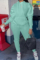 Water Blue Casual Cotton Blend Long Sleeve With Pocket Hoodie Pants Solid Color Sport Sets YM213-3