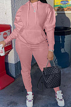 Pink Casual Cotton Blend Long Sleeve With Pocket Hoodie Pants Solid Color Sport Sets YM213-1