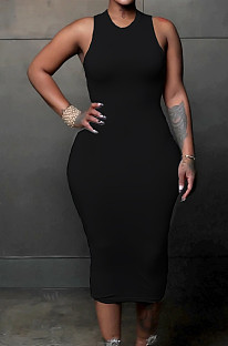 Black Simple Pure Color Sleeveless Round Collar Back Hollow Out Ruffle Slim Fitting Bodycon Dress MLL121-2