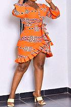 Orange Women Long Sleeve Flounce Printing Sexy Mini Dress ASX60037-2