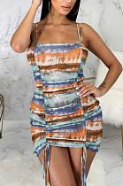 Orange Multicolor Tid Dye Printing Condole Belt Straless Ruffle Drawsting Sexy Hip Dress SMR10538-2