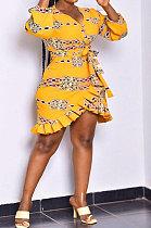 Yellow Women Long Sleeve Flounce Printing Sexy Mini Dress ASX60037-1