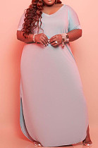 Gray Big Yards Cotton Blend Short Sleeve V Neck Loose Slit Casual Long Dress CYY00019-4