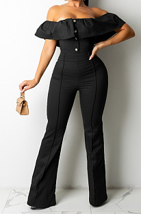 Black Simple Casual Flounce A Word Shoulder Button Slim Fitting Pure Color Collcet Waist Jumpsuits QZ5320-4