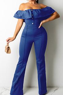 Blue Simple Casual Flounce A Word Shoulder Button Slim Fitting Pure Color Collcet Waist Jumpsuits QZ5320-1