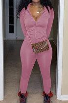 Pink Euramerican Women Trendy Solid Color Zipper Long Sleeve Tight Pants Sets MF5193-2