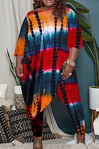 Orange Big Yards Tid Dye Printing Oblique Shoulder Loose lrregularity Top Tight Pants Casual Two-Piece OEP6308-2